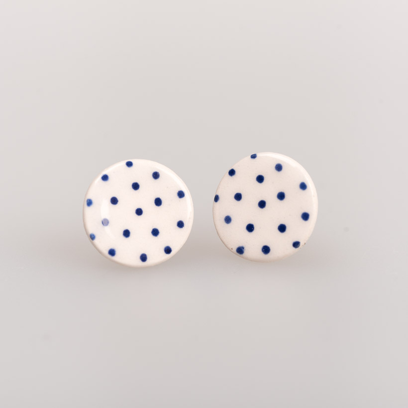 dubaruba_blue dots round ceramic studs south africa johannesburg made in africa handcrafted