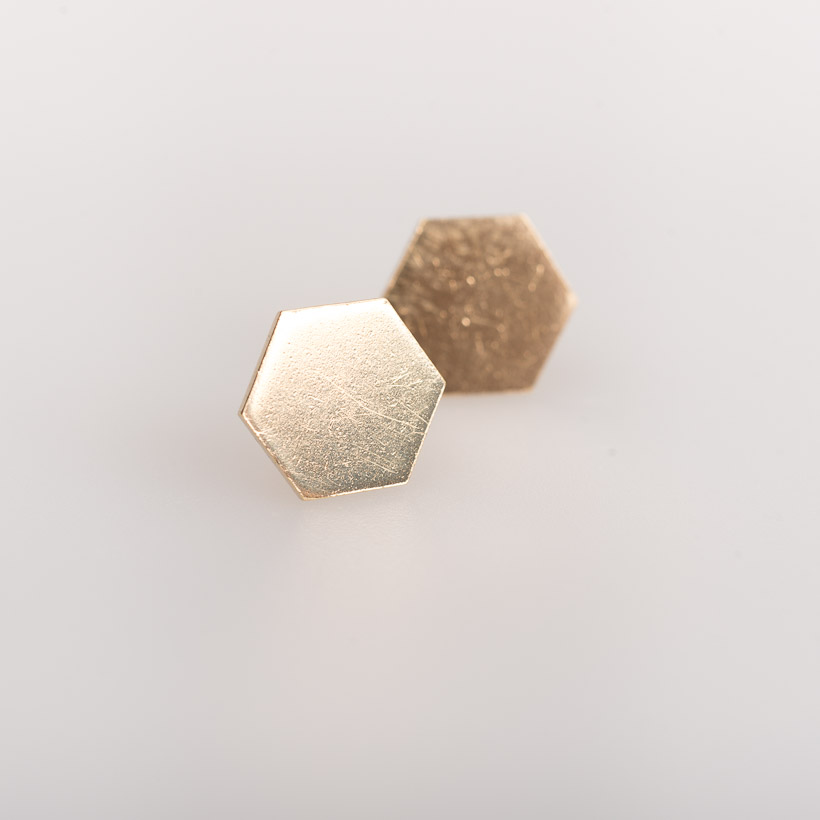 dubaruba_shop brass gilt gold platted hexagon studs small earrings smith jewelry made in africa cape town handcrafted south africa