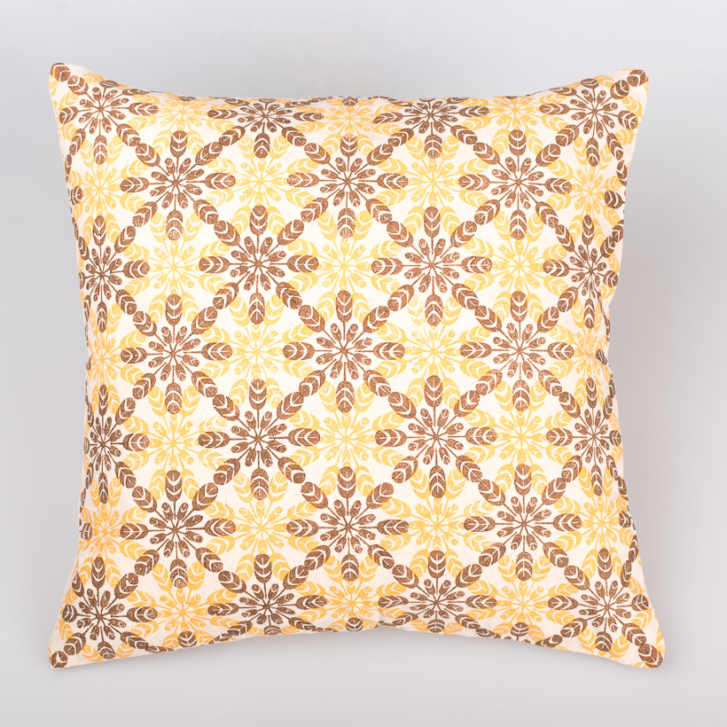 dubaruba_flower brown-yellow in natural-cushion cover-south africa-handcrafted-madeinafrica-capetown