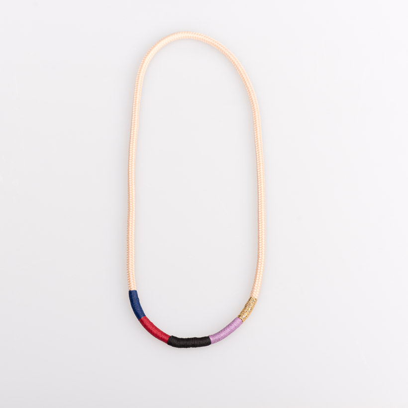 dubaruba-beige and colorful thin ndebele necklace pichulik handcrafted made in africa south africa cape town