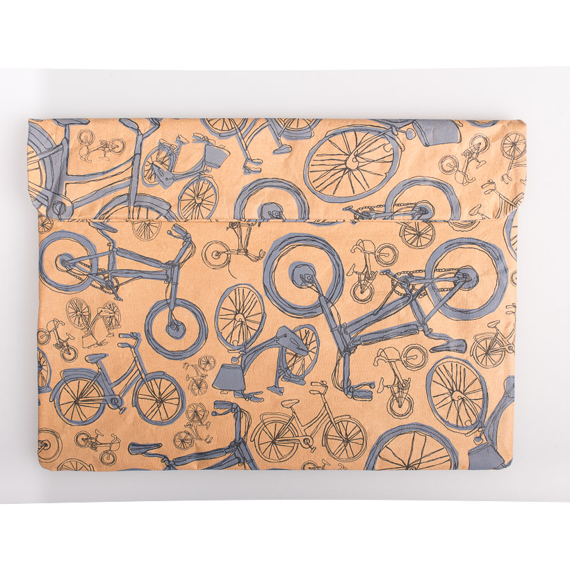 dubaruba_paper sleeve laptop sleeve- blue bicycle the wren design south africa cape town handcrafted made in africa