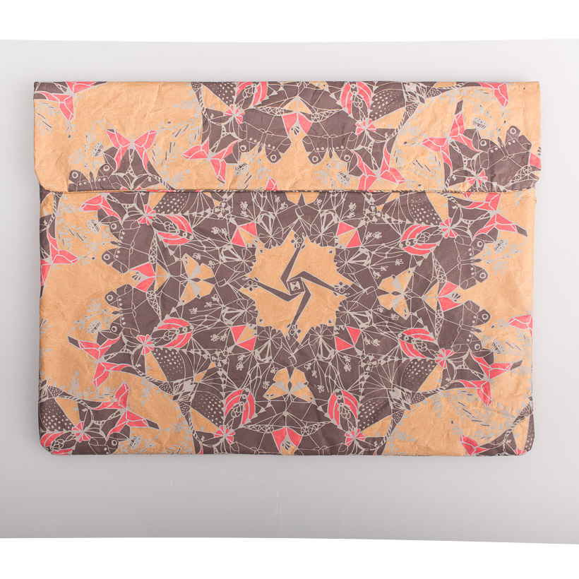 dubaruba_paper sleeve laptop sleeve-moths scarlet and frost print the wren design south africa cape town handcrafted made in africa