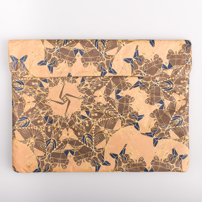 dubaruba_paper sleeve laptop sleeve-moths gold and indigo print the wren design south africa cape town handcrafted made in africa