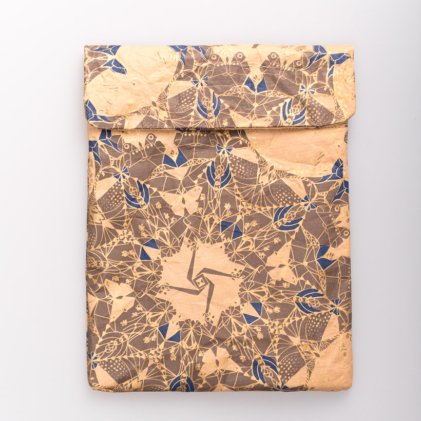 dubaruba_paper sleeve iPad tablet sleeve-moths gold and indigo print the wren design south africa cape town handcrafted made in africa