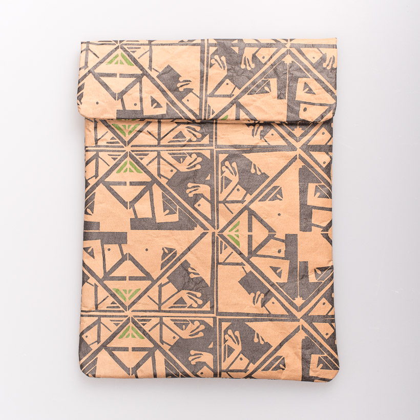 dubaruba_paper sleeve iPad tablet sleeve-ara green print the wren design south africa cape town handcrafted made in africa