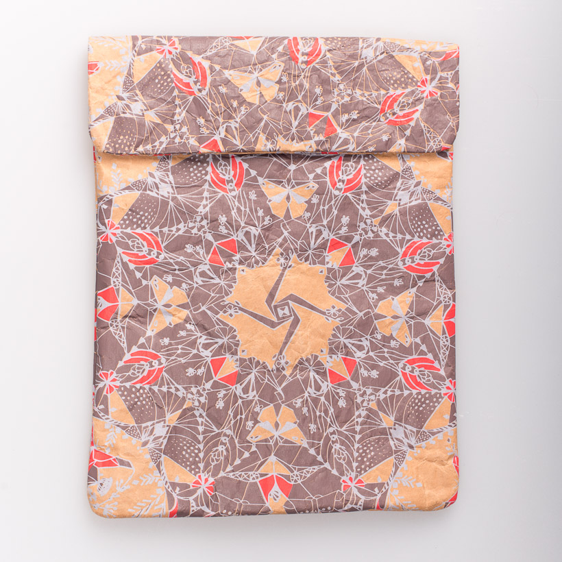 dubaruba_paper sleeve iPad tablet sleeve-moths scarlet and frost print the wren design south africa cape town handcrafted made in africa