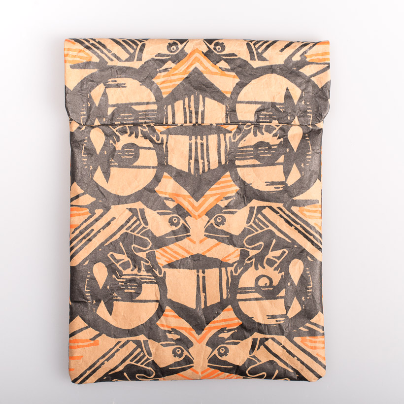 dubaruba_paper sleeve iPad tablet sleeve-cama orange print the wren design south africa cape town handcrafted made in africa
